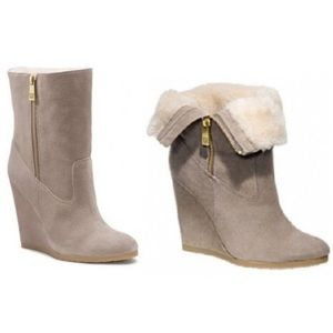 Coach 'Danee' Suede Wedge Ankle Boots Size 10